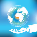 Vector : Global with map floating over business man hand on abst Stock Photo