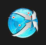 Vector Globe and Arrows on White Background Stock Image