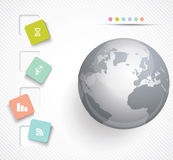 Vector globe with color stickers. Royalty Free Stock Image