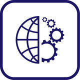 Vector globe and gear icon. Simply change Stock Photos