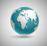 Vector Globe Icon. With smooth shadows and white map of the continents of the world vector illustration