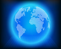 Vector globe icon of the world. On blue background vector illustration