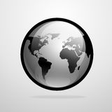 Vector globe icon world map silhouette Stock Photos