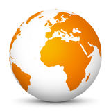 White Vector Globe Icon with Orange Continents - Planet Earth. White Globe Icon with Orange Continents and smooth Shadow on White Background - Planet Earth vector illustration