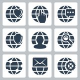 Vector globe icons set Stock Image