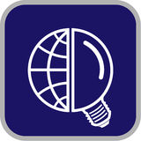 Vector globe and lamp icon. Simply change Royalty Free Stock Photography