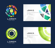 Vector globe logo business card template. Abstract Stock Image