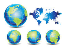 Vector globe and map Stock Photography