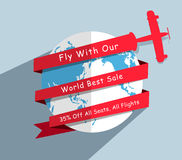 Vector globe and plane modern design template Stock Photo