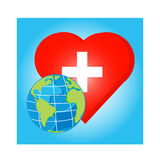 Vector globe on red heart with cross for health day Stock Images