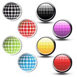 Vector globe stickers and buttons Stock Image