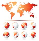 Vector Globe and World Map Royalty Free Stock Images