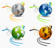 Vector globes. Set of globe icons with transportation and ecology concept Royalty Free Stock Photography