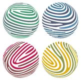 Vector globes. Composed of fingerprint-like stripes Stock Images