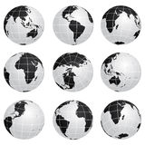 Vector globes - various turn Royalty Free Stock Images