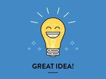 Vector Gloeilamp Grote idee en inspiratie Stock Afbeeldingen