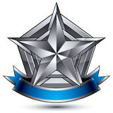 Vector glorious glossy design element, 3d silver star. Vector glorious glossy design element, luxury 3d pentagonal silver star. Conceptual complicated graphic Royalty Free Stock Photography
