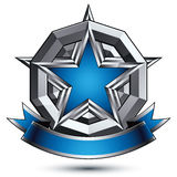 Vector glorious glossy design element, luxury blue 3d star with Stock Images