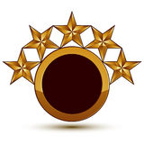 Vector glorious glossy design element with 5 luxury 3d golden st Stock Image