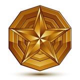 Vector glorious glossy design element, luxury 3d golden star, co Stock Photos