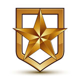 Vector glorious glossy design element with luxury 3d golden star Royalty Free Stock Images