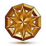 Vector glorious glossy design element, luxury 3d golden star Stock Photos