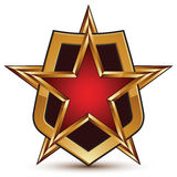 Vector glorious glossy design element, luxury 3d golden star and Stock Photos