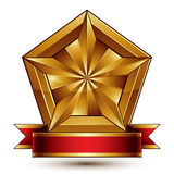 Vector glorious glossy design element, luxury 3d pentagonal gold Royalty Free Stock Images