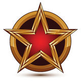 Vector glorious glossy design element, luxury 3d red star Stock Photo