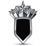Vector glorious glossy design element with luxury 3d silver star. Silvery conceptual graphic template, black EPS 8 complicated shield Royalty Free Stock Images