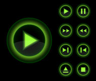 Vector glossy 3d player green buttons set. Vector web 3d icons collection Stock Photo