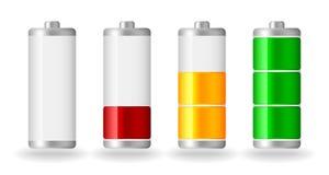 Vector glossy battery fullness indicator. Four vector glossy battery fullness indicator with light shadow Royalty Free Stock Photos