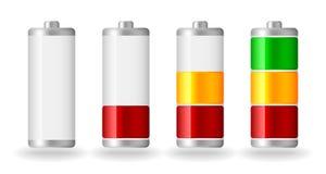 Vector glossy battery fullness indicator. Four  glossy battery fullness indicator with light shadow Stock Photo
