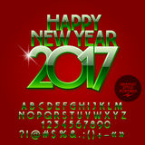 Vector glossy bright Happy New Year 2017 greeting card. With set of letters, symbols and numbers. File contains graphic styles Royalty Free Stock Images