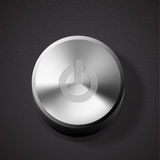 Glossy brushed metal silver power button Royalty Free Stock Image