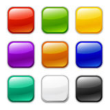 Vector glossy button icon, samples. Glass button icons, be available for any theme or text Stock Images
