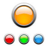 Vector glossy buttons. Set of vector color glossy buttons with metal edges Stock Image