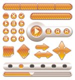 Vector glossy buttons. Set of vector golden glossy buttons for web design Stock Photos