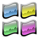 Vector glossy buttons, with gray frame Royalty Free Stock Photos