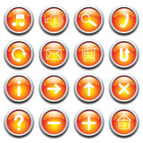 Vector glossy buttons with symbols. stock illustration
