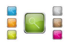 Vector glossy buttons with zoomicons. Set of  multicolored glossy rounded square buttons with zoom sign icons. EPS 10 Royalty Free Stock Photos