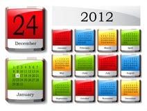 Vector glossy calendar 2012. Glossy color calendar 2012 - vector illustration Stock Photography