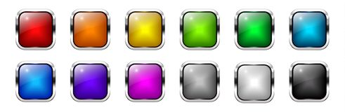 Vector shiny colorful square web buttons set Royalty Free Stock Photo