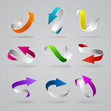 Vector glossy 3d curly arrows. Stylish glossy 3d curly arrows vector web element icon set. Colorful stripe line string pointers internet design elements Stock Photos