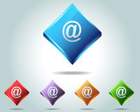Vector Glossy e-mail Icon Button and multicolored. Vector contact web icon button Royalty Free Stock Image
