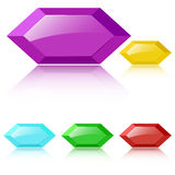Vector glossy faceted gemstones Royalty Free Stock Image