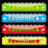 Vector glossy favorites tag buttons. Glossy favorites tag buttons. Vector illustration. On black Royalty Free Stock Images