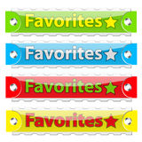 Vector glossy favorites tag buttons. Glossy favorites tag buttons. Vector illustration. On white Royalty Free Stock Photos