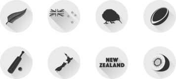 A Set of Flat Icons of New Zealand. royalty free stock images