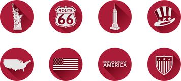 A Set of Flat Icons of the USA. royalty free stock images